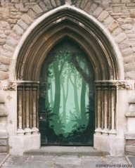 A disused church doorway into a forest of trees. St Judes, Lamb Street, Bristol 2003.