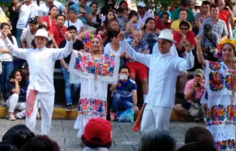 folk dancing in the main square Centro Merida