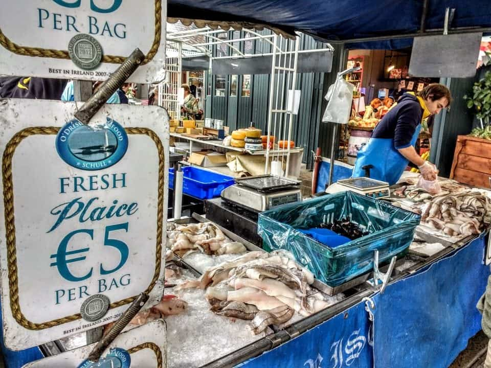 shopping for some fresh seafood at the English market in Cork