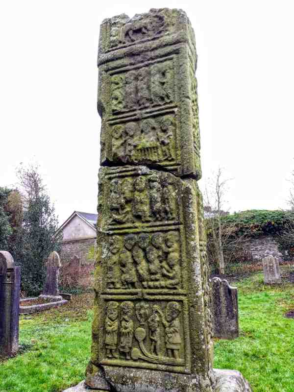 close up of carvings on high cross at kells