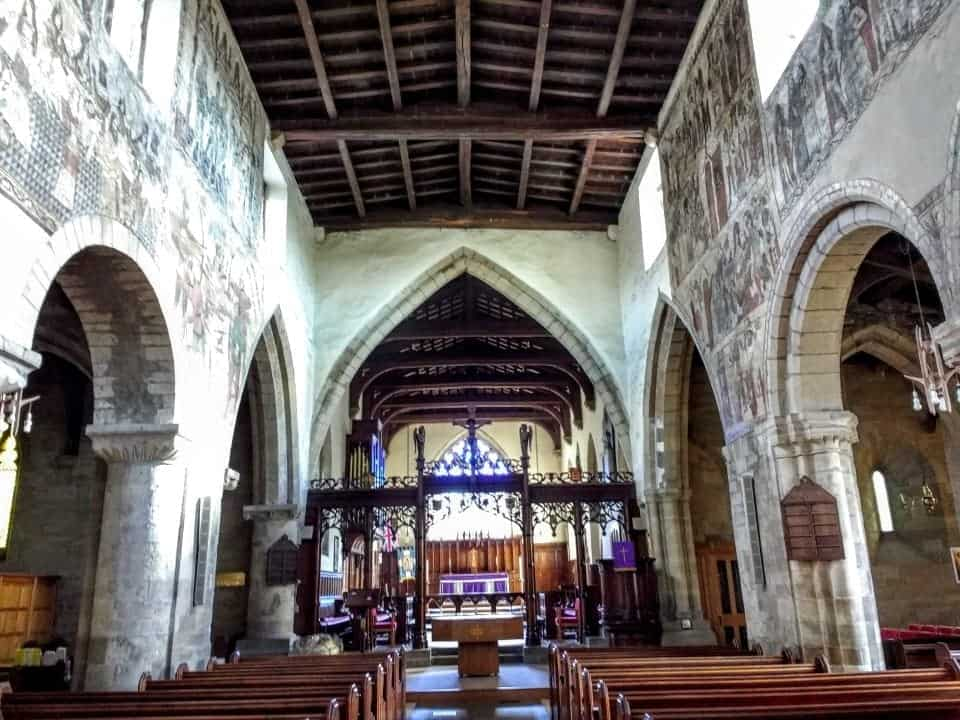 an amazing church in Pickering Market Village with murals painted on the walls that date back to medieval times