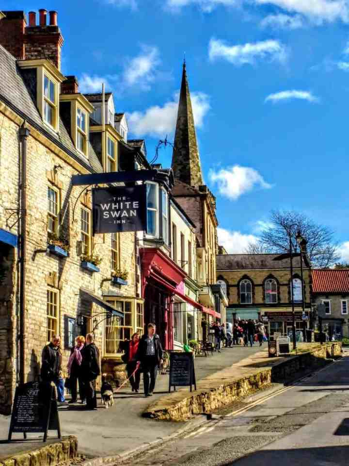 walking to the market in Pickering Yorkshire