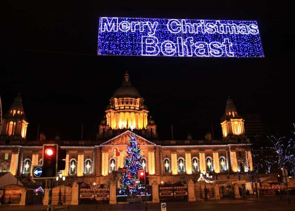 a great place to visit in Ireland is the City Hall in Belfast this picture show the building all lit up for Xmas