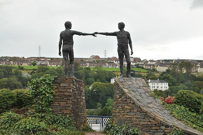 Hands across the divide the first thing you see entering Derry one of the things you must do when visiting Derry
