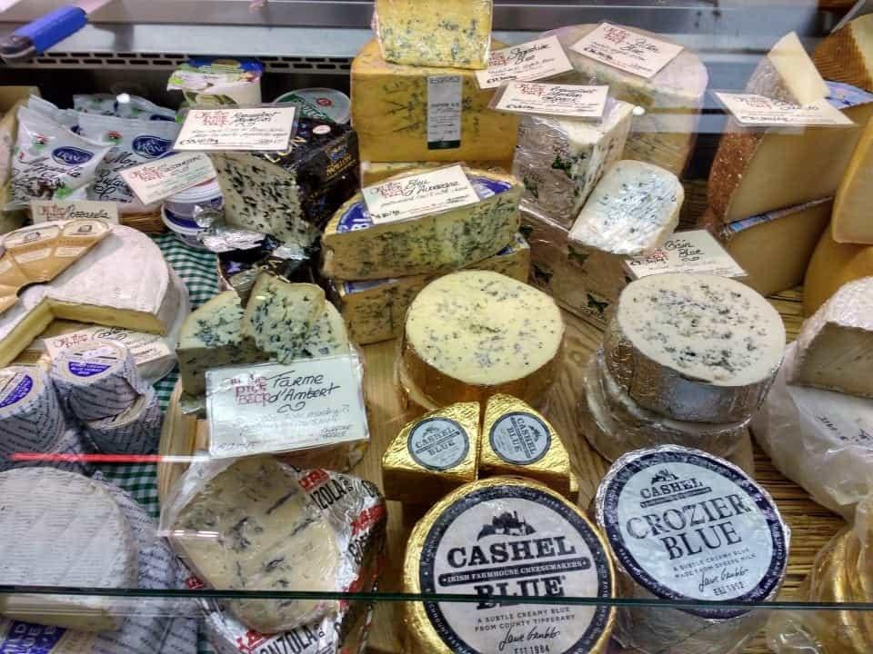 Irish cheeses at the market