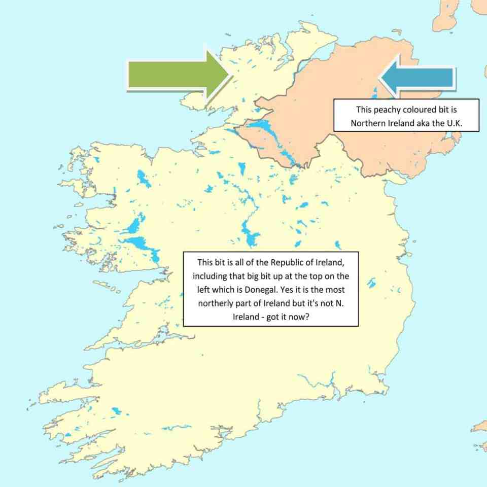 a Map of Ireland showing the differences and locations of the north and south of the country