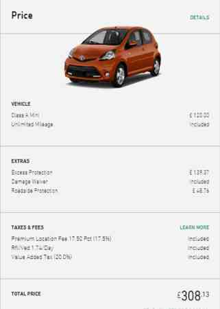 car rental costs in Ireland for a week