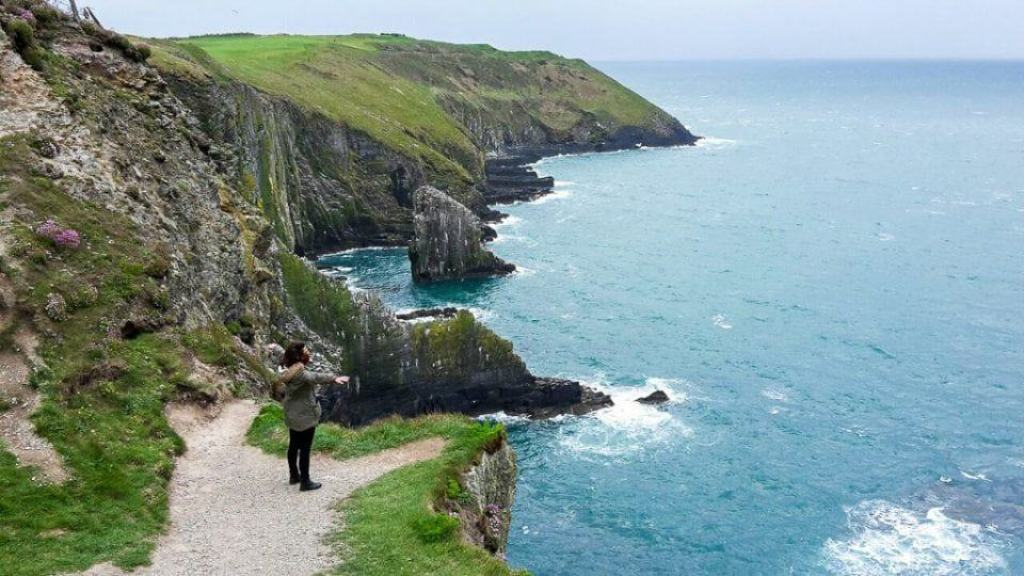 Kinsale Cliffs on the pathway with views of the ocean on the Wild Atlantic Way
