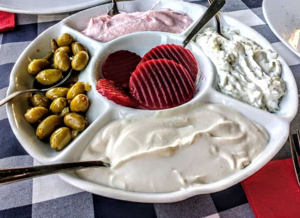 platter of traditional mezes in Cyprus