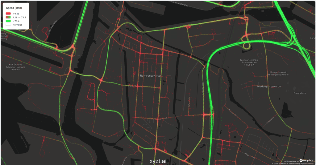 Connected car data visualized on the heatmap of the xyzt.ai platform. The data is styled using green and red colors that are, respectively, indicating high and slow speeds.