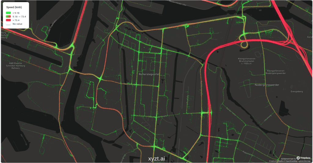 Connected car data visualized on the heatmap of the xyzt.ai platform. The data is styled using green and red colors that are, respectively, indicating slow and high speeds.