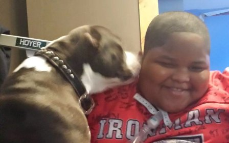 Xzavier Davis-Bilbo with Shi Shi his help dog who went missing for two weeks and was returned by Milwaukee Wisonsin news teams rallying to bring her home.
