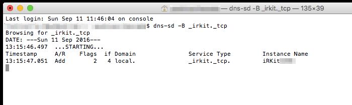 IRKitのInstance Nameを取得