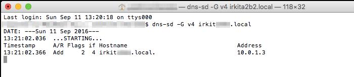 IRKitのIPアドレスを取得