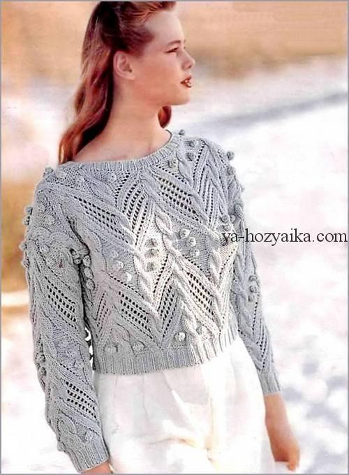пуловер, узор, араны, шишечки, 2019, модный, спицами