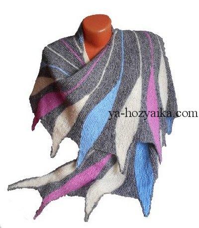 шаль ,мастер класс, частичное вязание