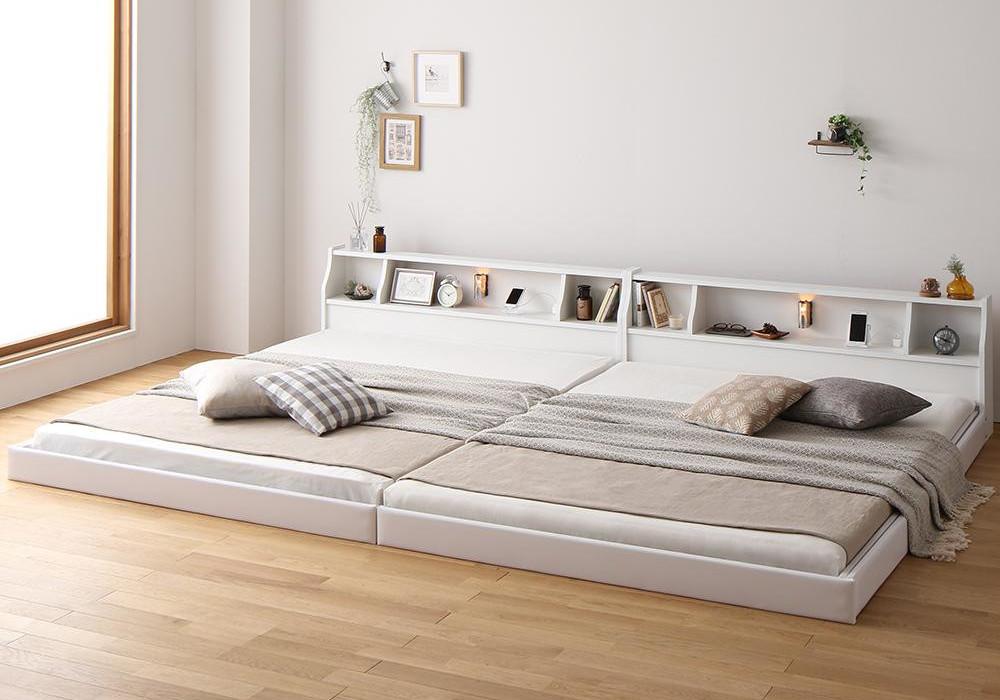 広い棚付き家族ベッド(白、ナチュラル)