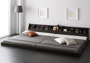 広い棚付き家族ベッド(茶、黒)