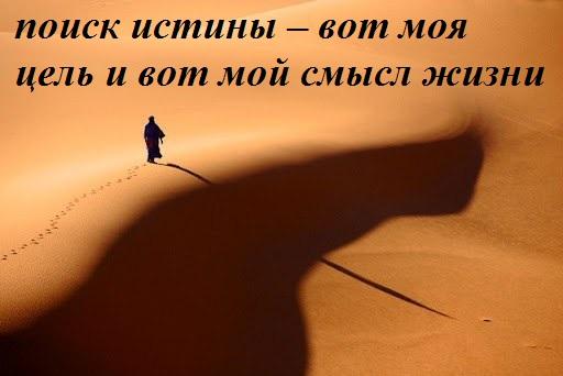поиск истины – вот моя цель и вот мой смысл жизни