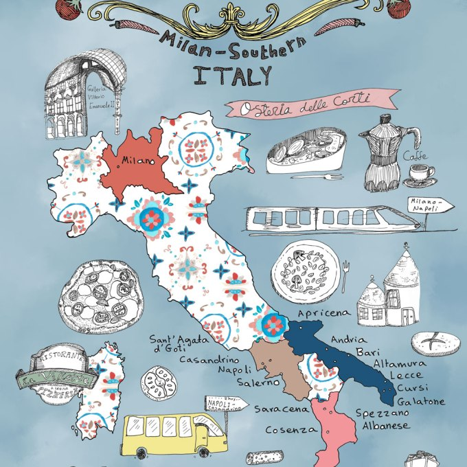 Illustrated map of italy archives yaansoon illustration art italy culinary tour a foodies illustrated map gumiabroncs Choice Image