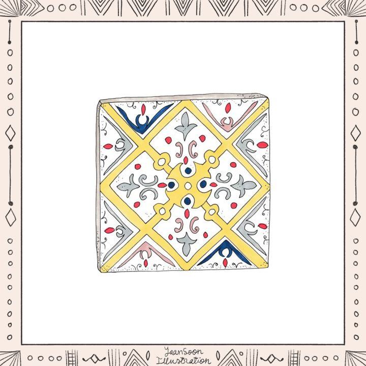 Illustrated North African Earthenware: 8 Pottery Illustrations from My Multi-Cultural Heritage, Moroccan Tile from Essaouria | Yaansoon Illustration + Art | Pen-and-ink illustration, alcohol markers illustration, Moroccan pattern, yellow motif