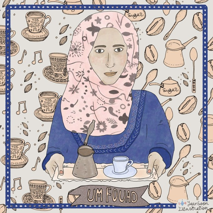 Um Fouad's Coffee Ritual: A Female Syrian Refugee's Recipe for Hope amid Adversity | By Yaansoon Illustration + Art | Women Portraits and Stories, Illustrated Woman, People Illustration, Illustrated Women Who Can, Hand-Lettering, Women Empowerment Illustration, Zaatari Camp, Oxfam GB