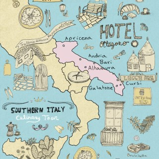 Italy Culinary Tour: Illustrated Map of Puglia | By Yaansoon Illustration + Art | Food illustration, travel illustration, Illustrated Travel Stories, Italian cuisine, Southern Italy, Illustrated Map of Italy