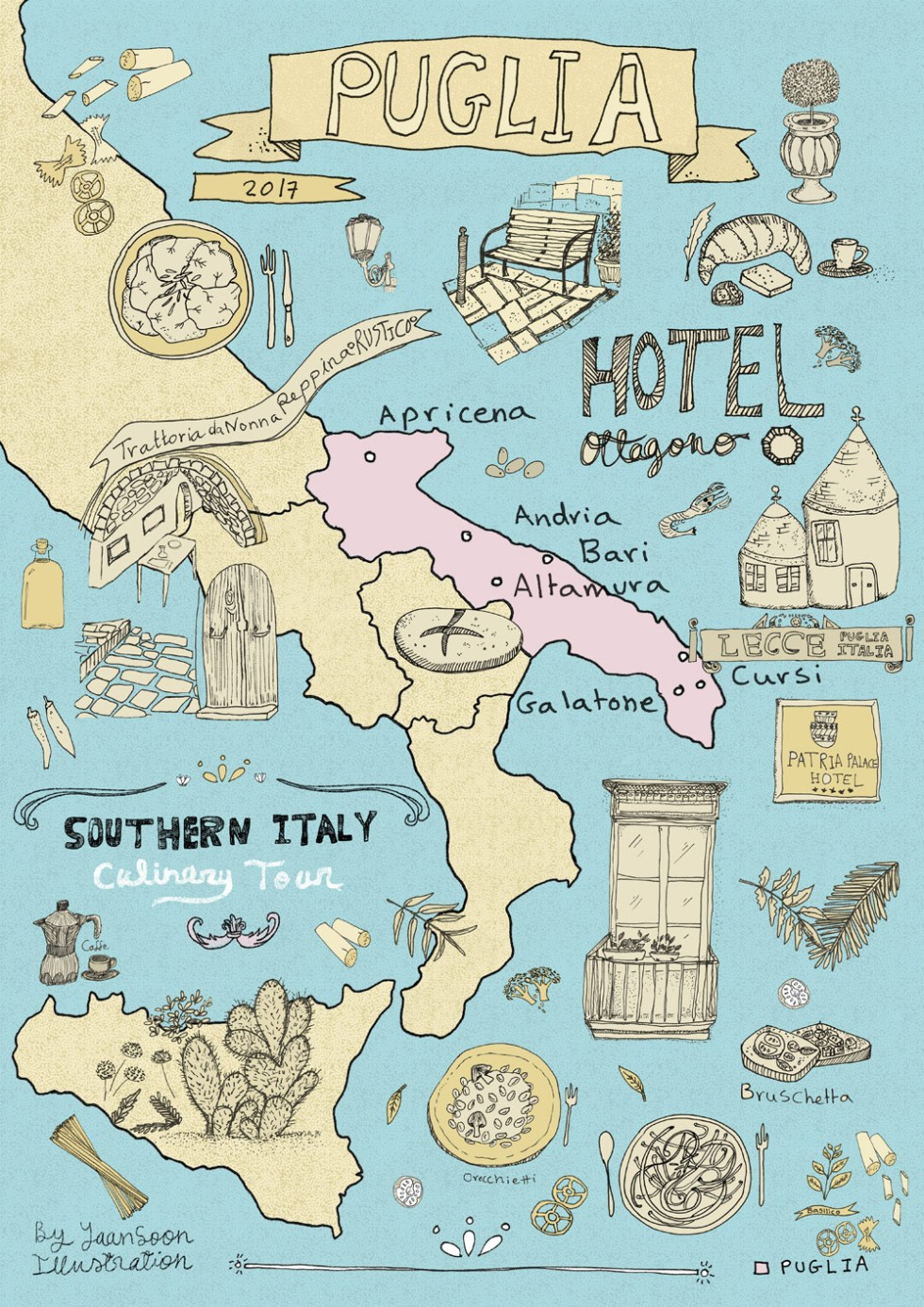 Italy Culinary Tour Illustrated Map Of Puglia Yaansoon