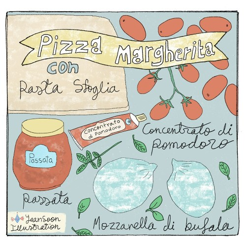 Illustrated Italian Recipes: Pizza Margherita con Pasta Sfoglia; Filo Pastry Pizza | By illustrator and artist Yaansoon Illustration + Art | Illustrated Recipes, Food Illustration, Italian food, Mediterranean food, Italian cuisine, Mediterranean cuisine, pen-and-ink illustration, digital illustration, pizza illustration, Italian ingredients