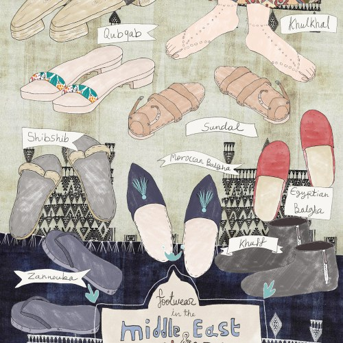 Cultural Travel Illustration: Middle Eastern & North African Footwear | By Yaansoon Illustration + Art | Middle Eastern Cultural Illustration, Illustrated Fashion, Editorial Illustration, MENA Region