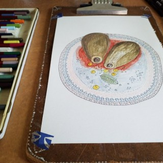 Analogue vs. Digital Drawing: Why I'm Changing my Illustration Process | | By illustrator and artist Yaansoon Illustration + Art | Middle Eastern Food Illustration, Flat Lay Style Mediterranean Food Illustration | Photo of analogue illustration depicting Middle Eastern Aubergine stuffed with Bulgur and Chickpeas (Hummus legumes)