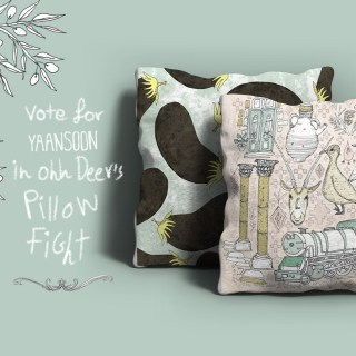 For a Limited Time: Vote For, Purchase a Yaansoon pillow on Ohh Deer | Land of the Nomads cushion and Aubergine cushion by Yaansoon Illustration + Art on Ohh Deer, part of Pillow Fight competition 2017. The illustrator turned her food and travel illustrations into pillows on Ohh Deer, a fun UK-based website specialising in illustration and design gifts