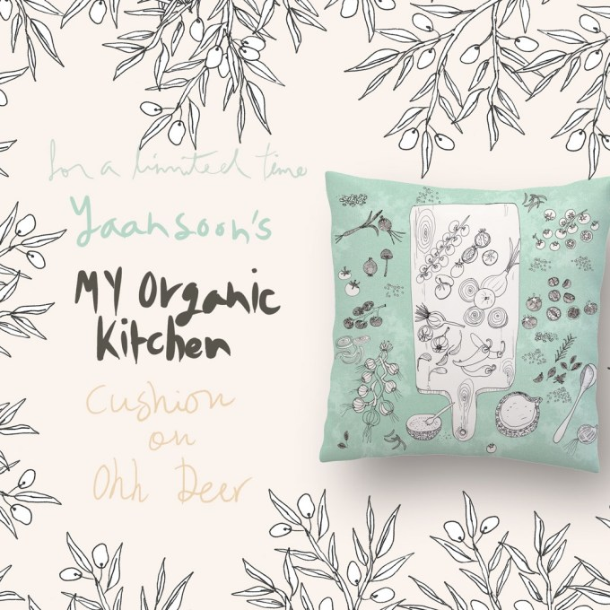 My Organic Kitchen cushion by Yaansoon Illustration + Art on Ohh Deer, part of Pillow Fight competition 2017. The illustrator turned one of her food illustrations into a pillow on Ohh Deer, a fun UK-based website specialising in illustration and design led gifts