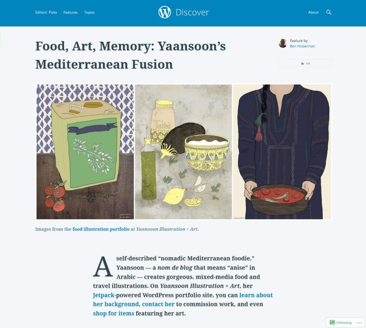 Press & Mentions | On Thursday 23.11.2017, a beautiful and heart-warming small feature on Yaansoon's illustration work was posted on WordPress Discover by Editor Ben Huberman, who leads the Editorial team at WordPress.com | Mediterranean and Middle Eastern Food Illustration + Travel Illustration