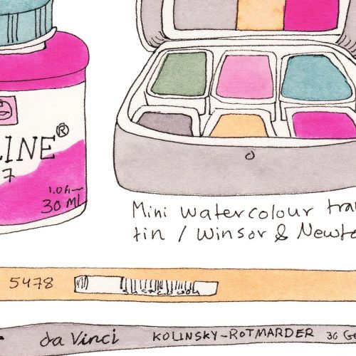 My Analogue Illustration Tools: Ink, Watercolour, Gouache, Coloured Pencils, & Markers | Winsor & Newton professional & student-grade watercolours, White Nights watercolours, Copic markers, professional Kolinsky brushes, etc. | Yaansoon Illustration + Art