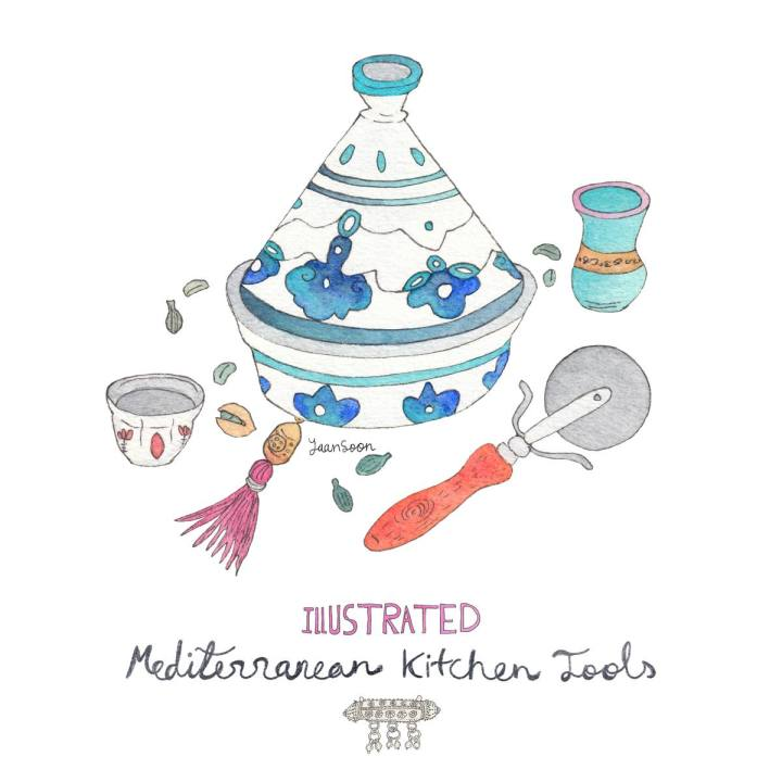 Illustrated Mediterranean Kitchen Tools – A food and culture blog series by Multi-Cultural Illustrator & Artist Yaansoon Illustration + Art | Traditional & Vintage Kitchen Tools & Cooking Utensils Used in Food Cultures Around the Middle East and The Mediterranean, Including Italy, Morocco, Turkey, and Lebanon. Editorial Food Illustrations About Culinary Heritage | Travel Illustration, Food Illustration, Hand-Lettering, Watercolour, Pen-and-Ink, Watercolour and Ink