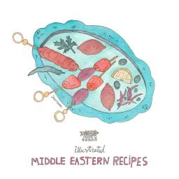 Illustrated Middle Eastern Recipes: Food Stories by a Multi-Cultural Couple – A food and culture blog series by Yaansoon Illustration + Art | Middle Eastern Food Illustration, Illustrated Recipes, Turkish Food, Levantine Cuisine, Lebanese Cuisine, Jordanian Food, Arab Food, Food from the Levant, Hand-Lettering, Watercolour, Pen-and-Ink, Watercolour and Ink