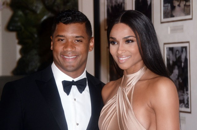 WASHINGTON, DC - APRIL 28: Russell Wilson from the Seattle Seahawks and Ciara Harris arrive for the State dinner in honor of Japanese Prime Minister Shinzo Abe And Akie Abe April 28, 2015 at the Booksellers area of the White House in Washington, DC. (Photo by Olivier Douliery/Getty Images)