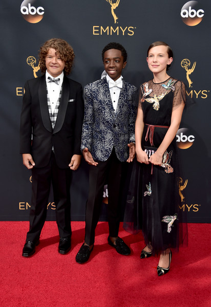Gaten Matarazzo Caleb Mclaughlin and Millie Bobb