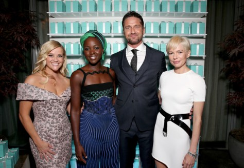 (L-R) Reese Whitherspoon, Lupita Nyongo, Gerard Butler and Michelle Williams