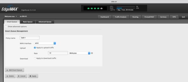 EdgeRouter X – 4  QoS を設定する ( QoS / CoDel ) | yabe jp