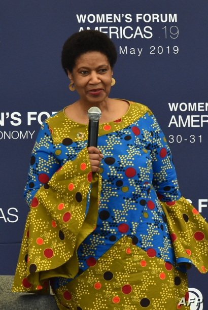 FILE - Phumzile Mlambo-Ngcuka, executive director of U.N. Women, speaks during the opening ceremony of the Women's Forum Americas in Mexico City, May 30, 2019.