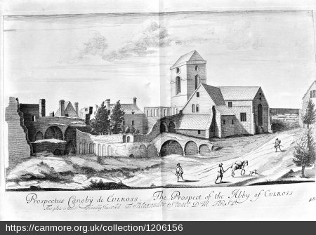 Engraving of Culross Abbey and the ruined monastery