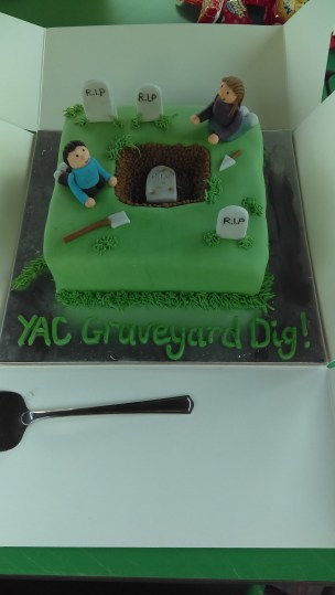 Fancy cake celebrating our graveyard dig. It did not taste of soil. Which is good.