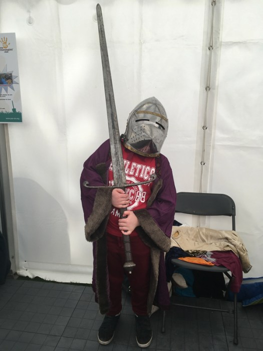 Wielding the replica of Robert the Bruce's inflatable sword