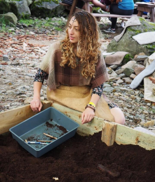 Joanna by the dig box