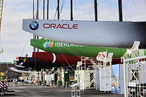 The line-up from the monohull era - Unveiling day. Valencia, 2007. Gilles Martin-Raget/Oracle Racing.com © http://www.oracleteamusamedia.com/