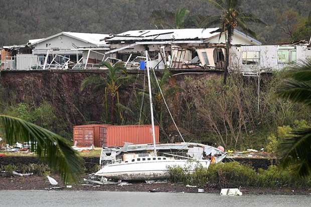Shute Harbour, near Airlie Beach, is littered with debris after Cyclone Debbie. Dan Peled / AAP