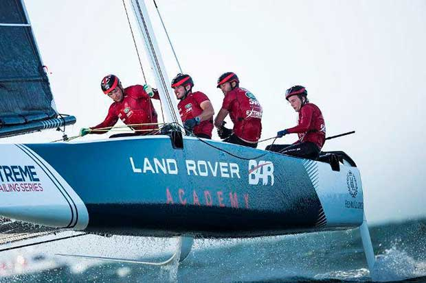 The Land Rover BAR Academy wearing their Spinlock T2 jacket at the Extreme Sailing Series (ESS) Act One in Muscat. Lloyd Images http://lloydimagesgallery.photoshelter.com/