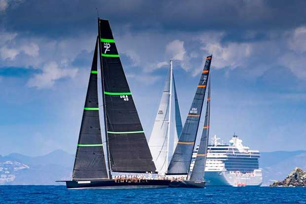Bella Mente and Proteus go head to head on the racecourse at the 2017 Les Voiles de St. Barth - European Racing Circuit © Christophe Jouany